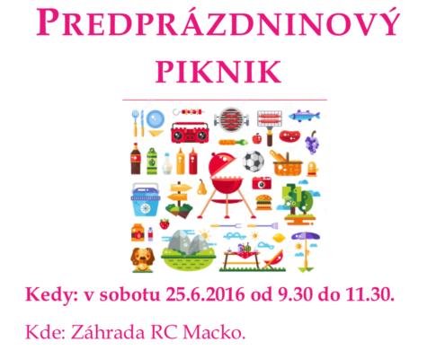Predprázdninový piknik 25.6.2016 9:30